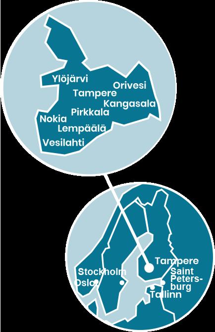 Karttakuva Tampereen seudusta