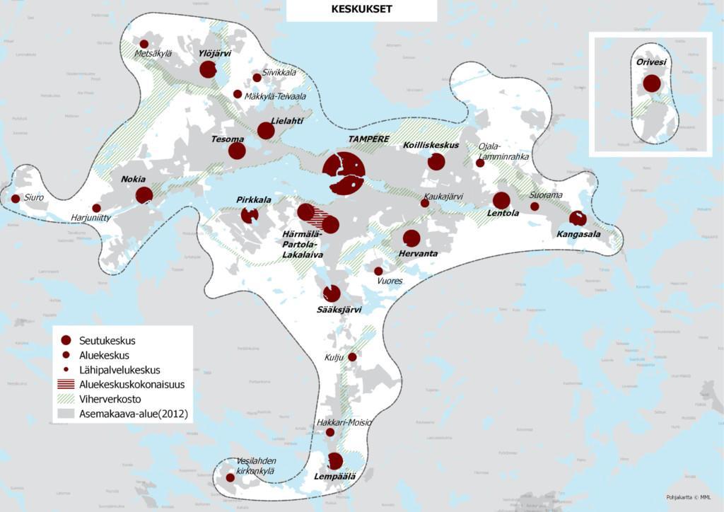 Kartta keskuksista